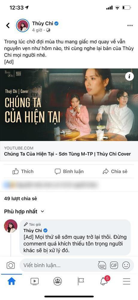 Thùy Chi đăng bản cover Chúng ta của hiện tại lên Fanpage để câu view trong lúc Sơn Tùng M-TP gặp scandal-1