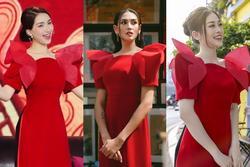 Loạt mỹ nhân Việt 'đụng hàng khét lẹt' mẫu áo dài đỏ tươi dịp Tết vừa qua