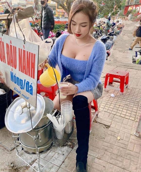 Cô gái bán sữa đậu nành xôn xao MXH với bức ảnh vòng 1 nhảy ra khỏi áo-1