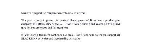 Fan Jisoo lại gửi một sớ dài đến YG để đòi công bằng cho Idol-2