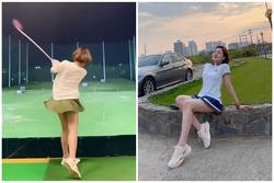 Hot girl Trâm Anh diện váy ngắn cũn chơi goft suýt lộ hàng