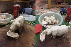 'Điêu khắc' khúc giò thành hình con lợn, cô gái được dân mạng khen hết lời