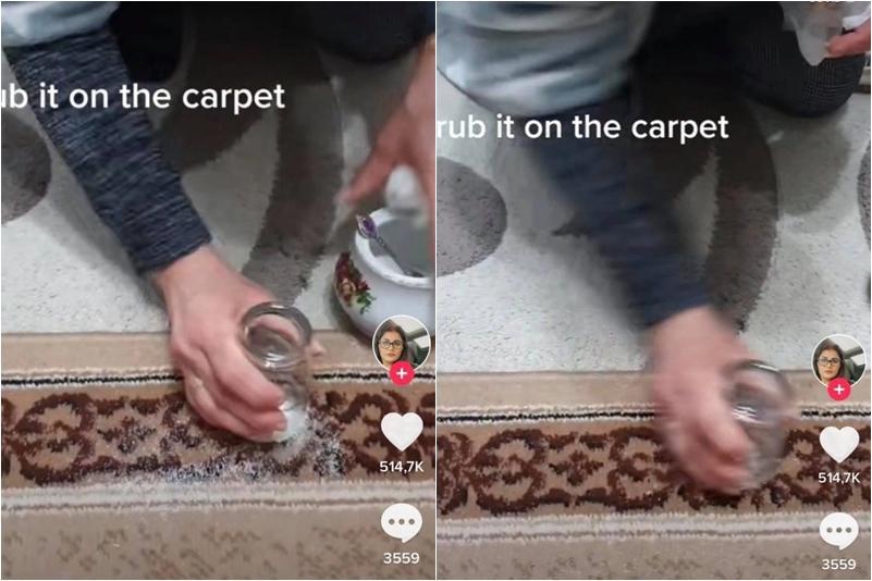 Vô tình làm đổ đường ra thảm, người phụ nữ nhanh trí dọn sạch bóng chỉ nhờ 1 chiếc cốc-1