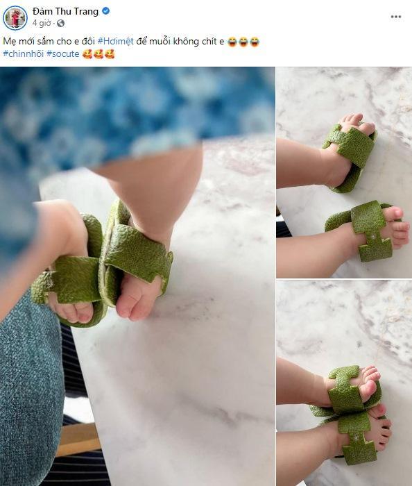 Đàm Thu Trang làm dép Hermès cho con bằng vỏ bưởi-1