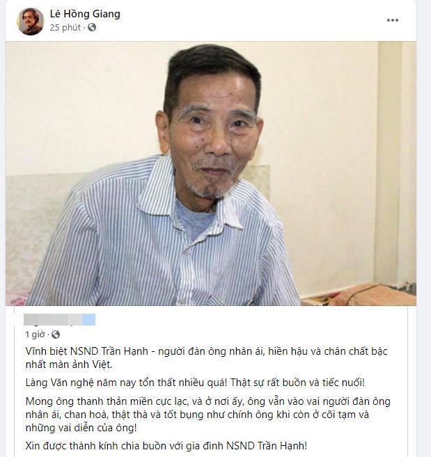 Dàn sao Việt tiếc thương NSND Trần Hạnh: Vĩnh biệt bố Hạnh-5