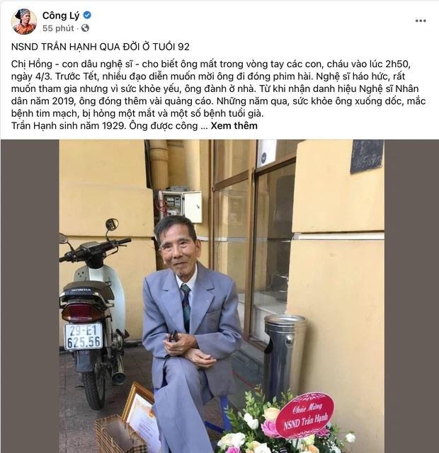 Dàn sao Việt tiếc thương NSND Trần Hạnh: Vĩnh biệt bố Hạnh-3