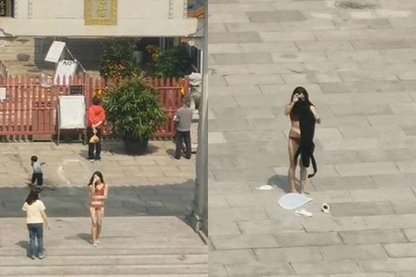 Dân mạng truy tìm cô gái mặc nội y quỳ lạy trước chùa-2