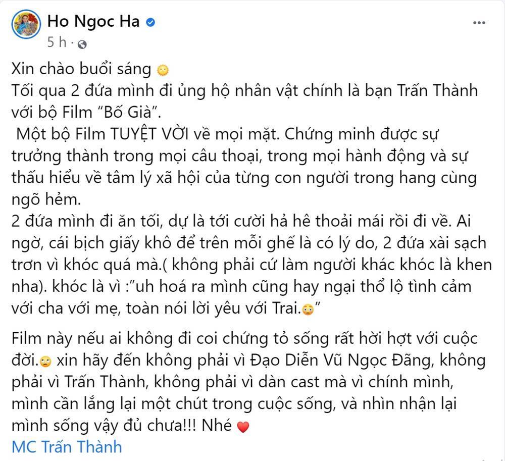 Hồ Ngọc Hà review phim Trấn Thành: Ai không xem chứng tỏ sống hời hợt-2