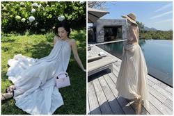 Hiền Hồ - Khánh Linh 'đụng hàng' váy maxi khoe trọn lưng trần mướt mắt