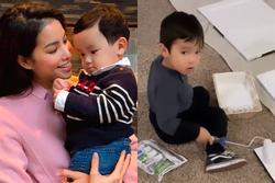 Con trai Phạm Hương gây thích thú khi phụ mẹ việc nhà