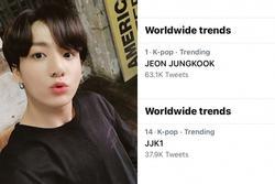 Đăng nhạc giữa đêm, Jungkook on top bá chủ trending toàn cầu