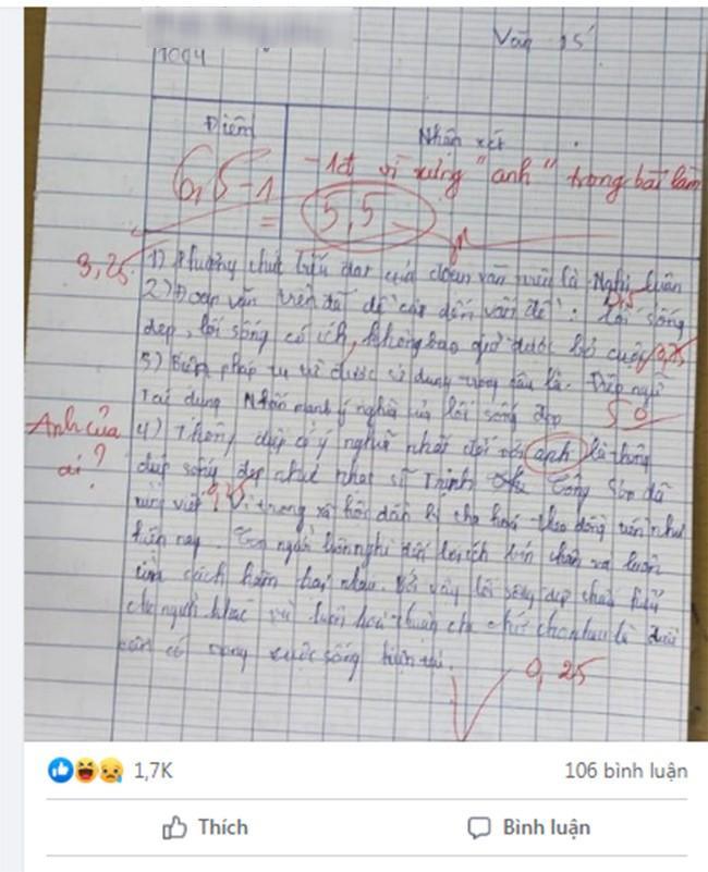 Bài kiểm tra Ngữ văn của nam sinh lớp 11 bị trừ 1 điểm vì lý do khó đỡ-1