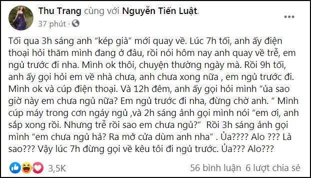 Thu Trang nổi đóa chuyện đêm muộn dai dẳng của Tiến Luật-1