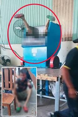 Kinh hoàng: Nam công nhân ngã chúi đầu vào máy nghiền