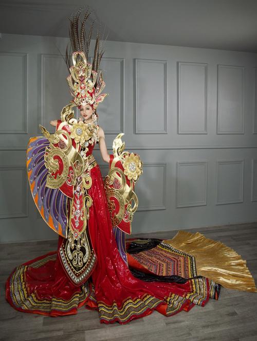 Toát mồ hôi Quốc phục khổng lồ của người đẹp Việt đi thi quốc tế-9