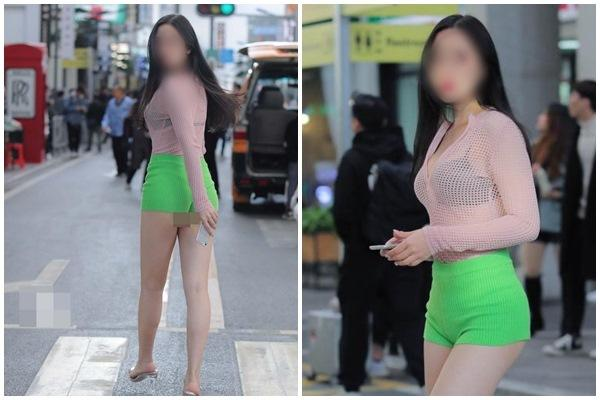 Gái xinh bị chỉ trích vì mặc áo tàng hình lộ nội y xuống phố
