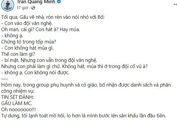 BTV Quang Minh toát mồ hôi khi con trai được giao trọng trách lớn-1
