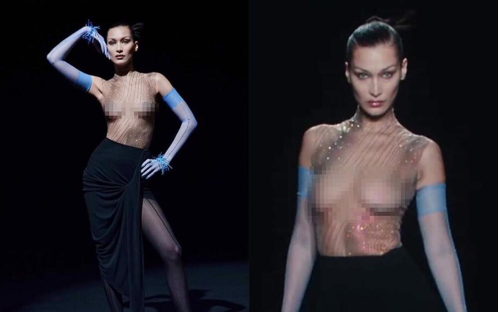 Siêu mẫu Bella Hadid để ngực trần trụi khi trình diễn show thời trang-1