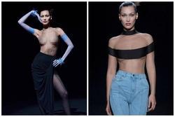 Siêu mẫu Bella Hadid để ngực trần trụi khi trình diễn show thời trang