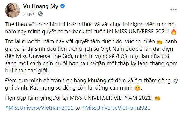 Hoàng My tuyên bố thi Hoa hậu Hoàn vũ Việt Nam 2021 gây xôn xao-1