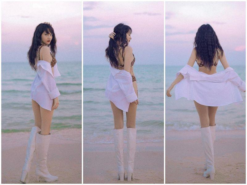 Tiểu Vy, Bảo Anh mặc bikini xỏ boots trên hè dưới đông-14