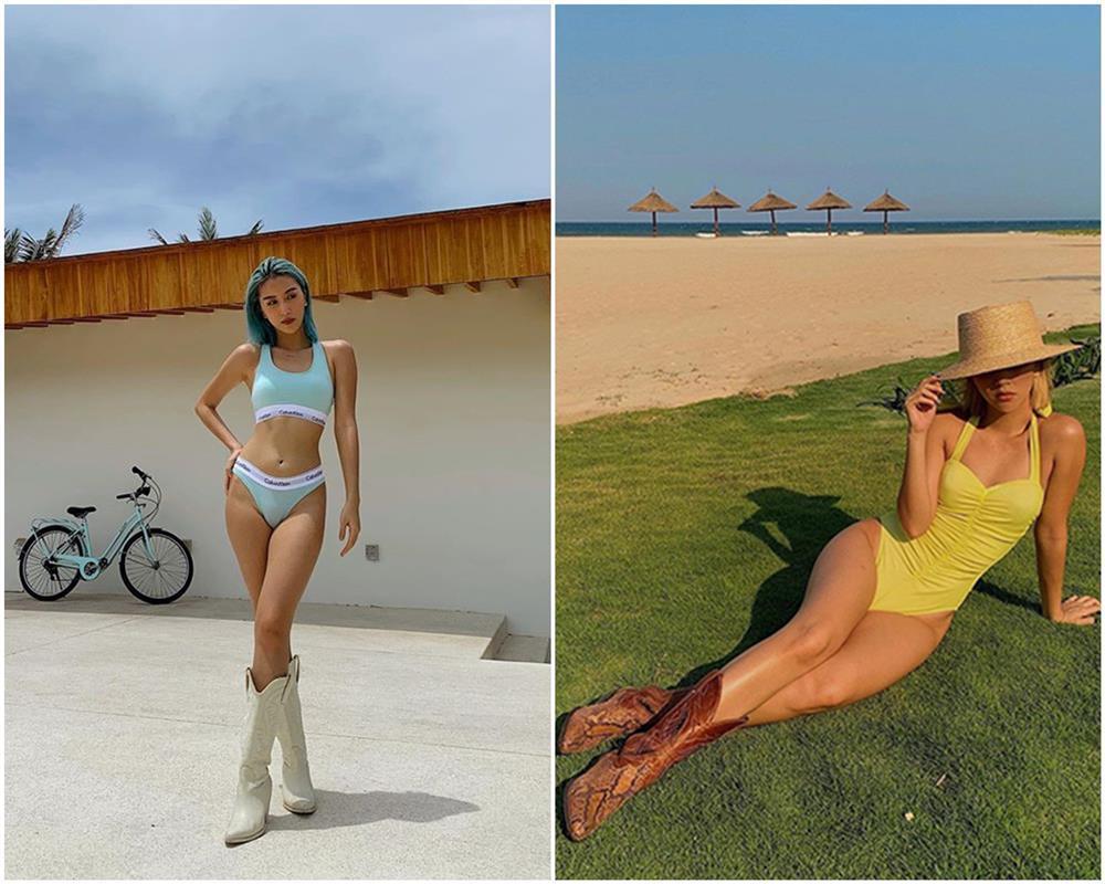 Tiểu Vy, Bảo Anh mặc bikini xỏ boots trên hè dưới đông-6