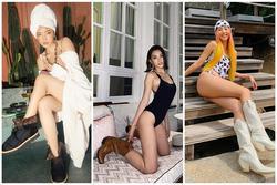 Tiểu Vy, Bảo Anh mặc bikini xỏ boots 'trên hè dưới đông'