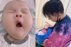 Con trai 2 tháng tuổi của Hữu Công gây bão với biểu cảm cưng muốn xỉu