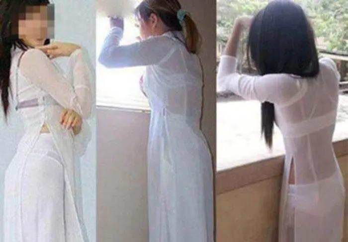 Những lần nữ sinh Việt gây sốc vì cách diện áo dài phản cảm-3