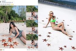 Quỳnh Anh Shyn - An Vy (FAPTV) bị đào lại loạt ảnh bikini với sao biển