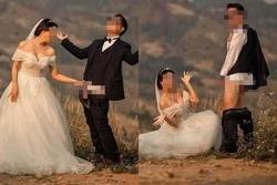 Ảnh cưới chú rể tụt quần cho cô dâu túm vào 'chỗ hiểm'