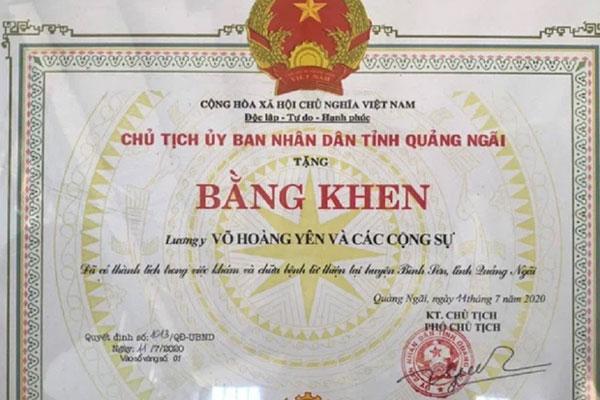 Quảng Ngãi hủy bỏ quyết định khen thưởng thần y Võ Hoàng Yên-1