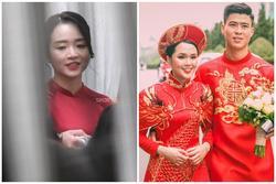 Cô dâu Xuân Trường diện áo dài đỏ, độ lồng lộn thua xa vợ Duy Mạnh