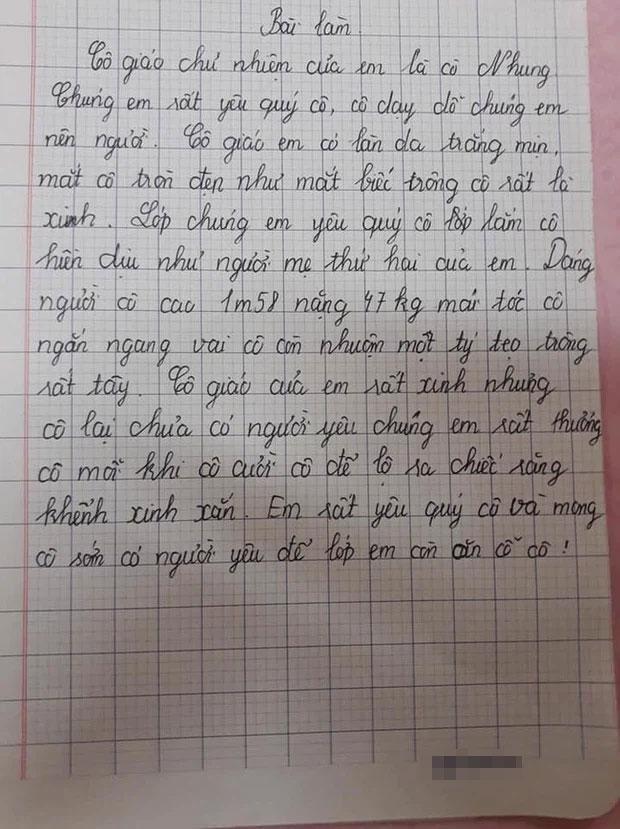 Học sinh làm văn tả cô giáo thật từng chi tiết, đọc ngượng chín mặt-1