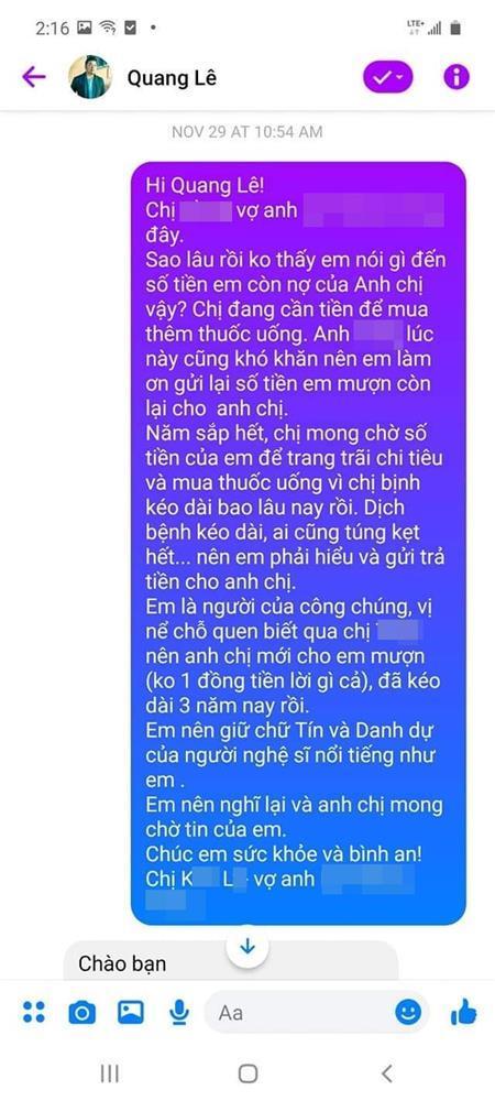 Bị tố quỵt hơn 100 triệu đồng, ca sĩ Quang Lê nói gì?-4