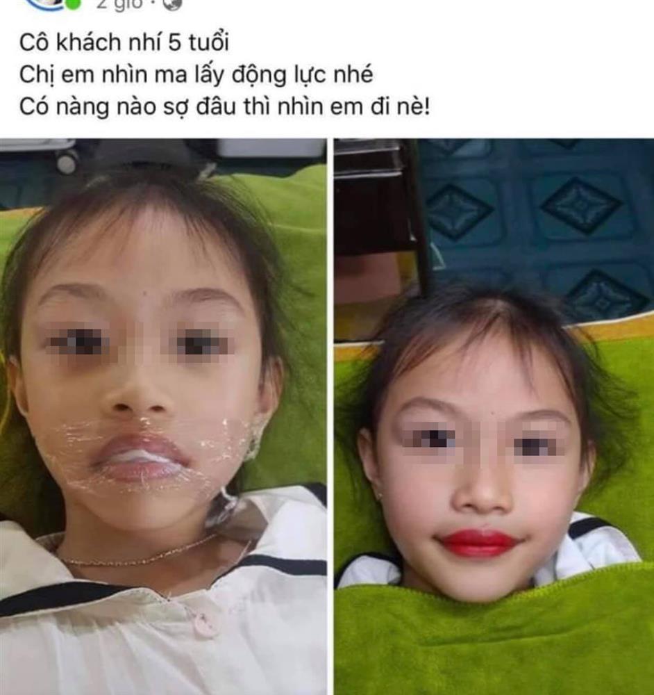 Xôn xao chuyện phụ huynh để bé gái 5 tuổi xăm môi đỏ mọng-1
