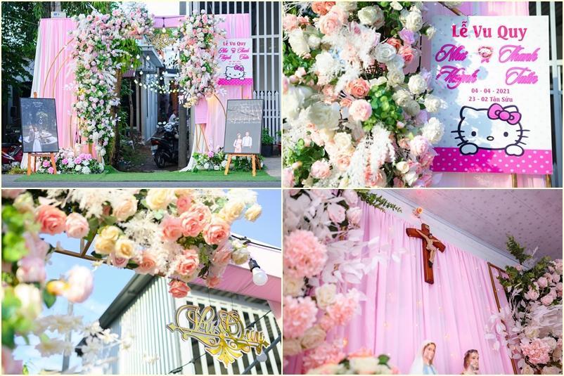 Cô dâu An Giang trang trí tiệc cưới ngập tràn sắc hồng mèo Hello Kitty-2