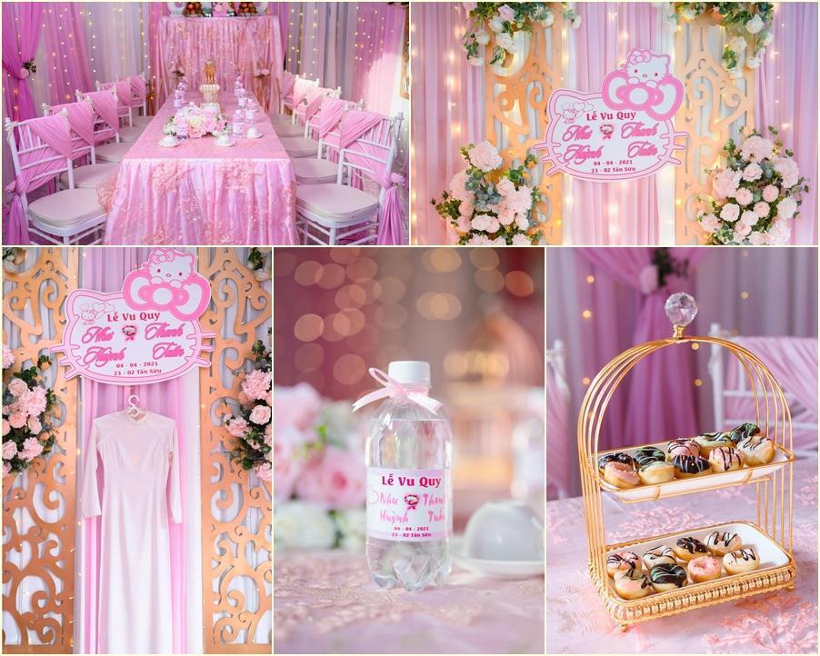 Cô dâu An Giang trang trí tiệc cưới ngập tràn sắc hồng mèo Hello Kitty-4