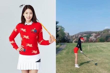 Park Shin Hye khoe dáng cực nuột khi đi chơi golf