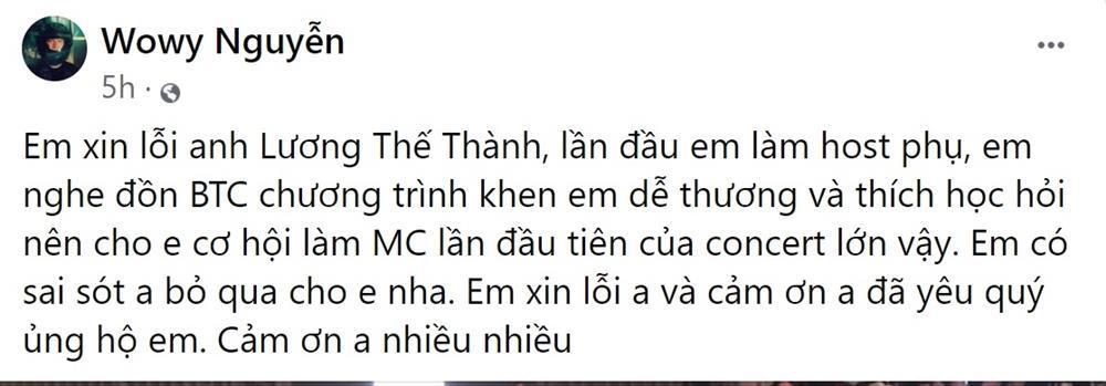 Wowy như tấm chiếu mới trong lần đầu làm MC, Lương Thế Thành nhầm Trương Thế Vinh-2