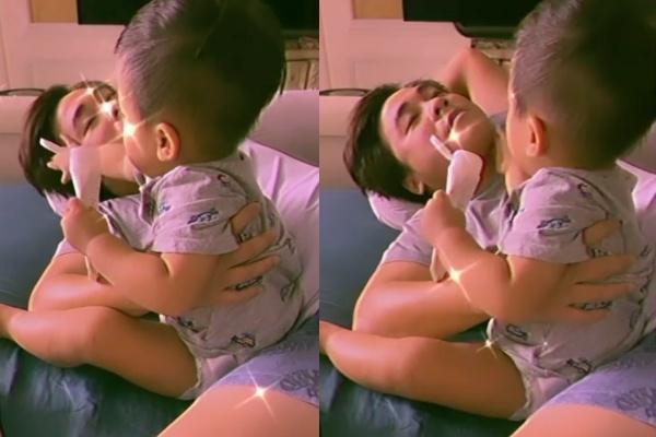 Cưng xỉu khoảnh khắc con trai Hòa Minzy thoa kem dưỡng da cho bố-1