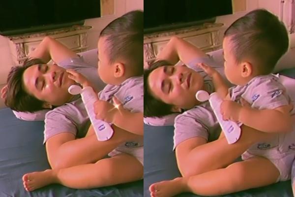 Cưng xỉu khoảnh khắc con trai Hòa Minzy thoa kem dưỡng da cho bố-2