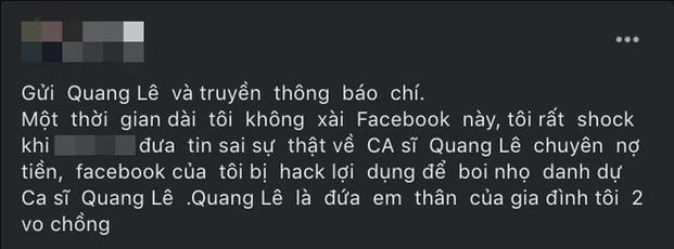 Người tố Quang Lê nợ 100 triệu tuyên bố Facebook bị hack-1