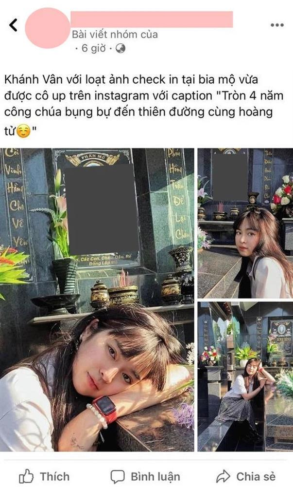 Khánh Vân tạo dáng bên bia mộ người thân bị dân mạng mắng té tát-1