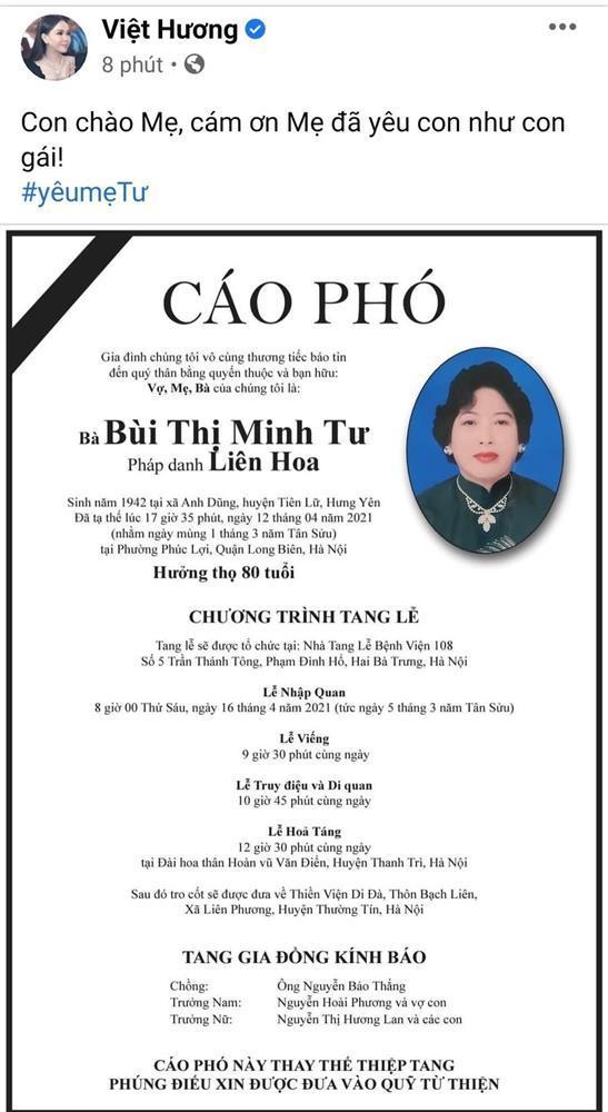 Mẹ chồng Việt Hương qua đời-3