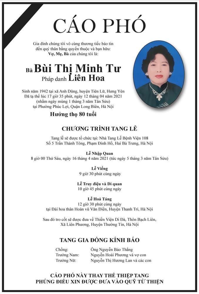 Mẹ chồng Việt Hương qua đời-2