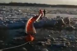 Giải cứu người phụ nữ mắc kẹt trên tảng băng trôi