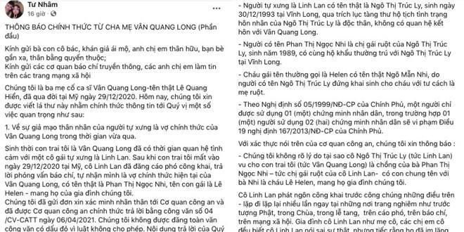 Cha mẹ Vân Quang Long công khai mục đích sử dụng tiền phúng điếu, xin trả nợ cho con trai-1