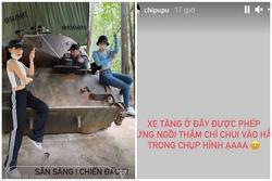 Bị chỉ trích tạo dáng vô ý thức trên xe tăng, Chi Pu lập tức thanh minh