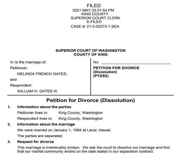 Bất ngờ nội dung lá đơn ly hôn vợ tỷ phú Bill Gates gửi Tòa án-3